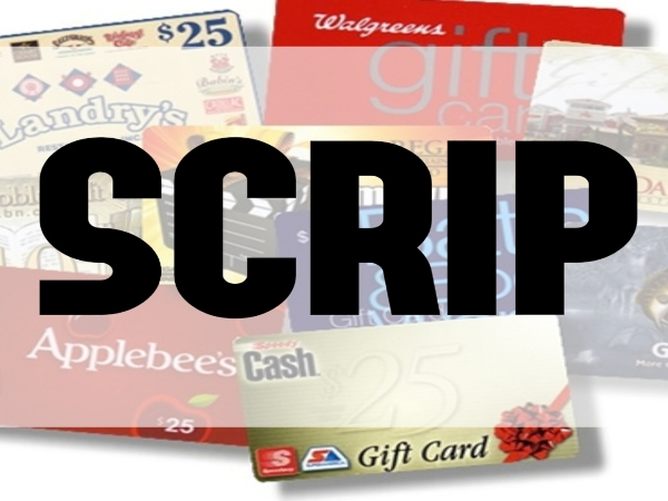 SCRIP Physical Gift Card Orders Due (Last Order before Spring Break)